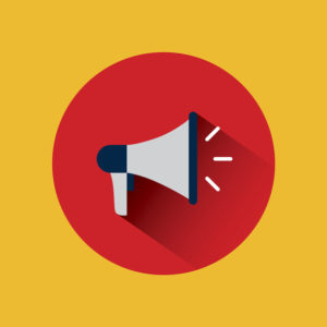 megaphone device icon over red circle and yellow background