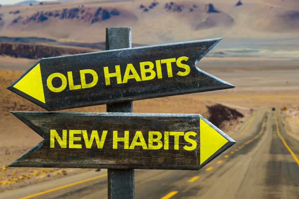 Pandemic Pivot: Old Habits - New Habits signpost in a desert road background