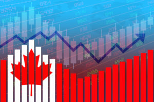 Canada flag on bar chart concept of economic recovery and business improving after crisis