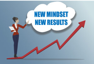 New mindset new results- cartoon woman standing on an upwards pointing arrow