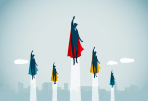 5 superheroes flying upwards